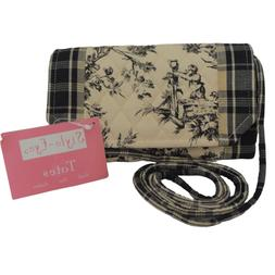 Baum Bros Style Eyes Quilted Toile Crossbody Bag Wallet Blac