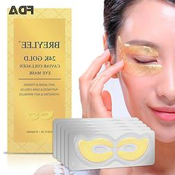Collagen Eye Mask 24K Gold Eye Pads for Dark Circles, Puffin