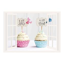 SCOCICI Window Mural Wall Sticker/Gender Reveal,Boy and Girl